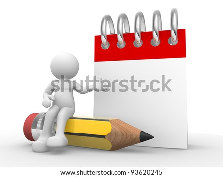 3d people - human character , person with a pencil and a empty notebook. 3d render illustration - stock photo