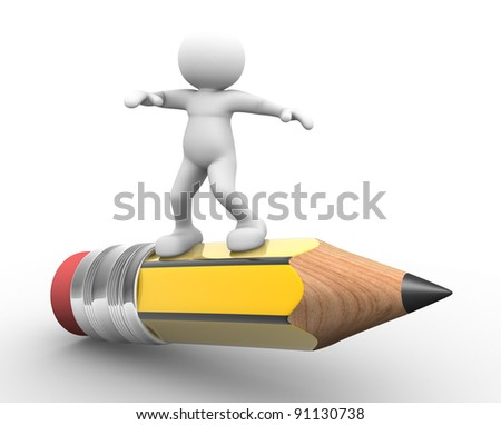 3d people - human character ,  person with a pencil. 3d render - stock photo