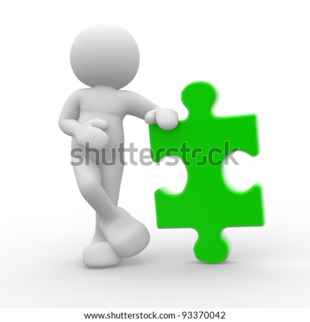 3d people - human character , person with a puzzle piece ( jigsaw ). 3d render illustration - stock photo