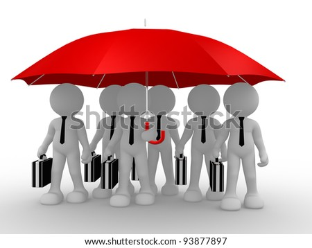 3d people - human character , person  with an umbrella and a briefcase. Businessman . 3d render - stock photo