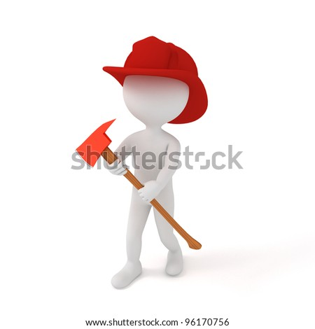 3d people - human character, person with axe and hardhat. Fireman. 3d render - stock photo