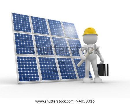 3d people - human character , person with briefcase and helmet. Engineer and a solar panel . 3d render illustration - stock photo