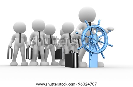 3d people - human character, person with briefcase and ship wheel. Businessman.  Partners. 3d render