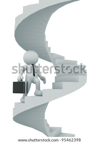 3d people - human character, person with briefcase - climb the spiral staircase - stair. Businessman. 3d render illustration