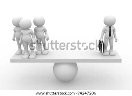 3d people - human character , person with briefcase in balance. Leadership and team. 3d render - stock photo