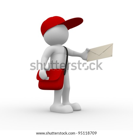 3d people - human character, person with cap. Postman with envelope and bag. 3d render