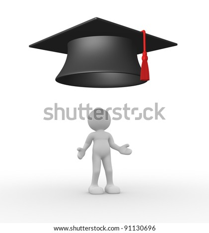 3d people - human character - person with graduation. 3d render illustration - stock photo