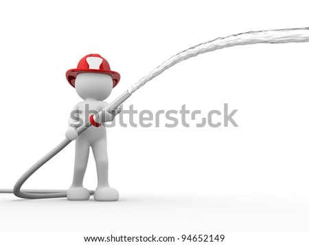 3d people - human character, person with helmet and a water hose. Fireman. 3d render - stock photo