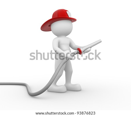 3d people - human character , person with hose and hardhat . Fireman. 3d render - stock photo