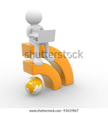 3d people - human character , person with laptop and RSS symbol . 3d render illustration