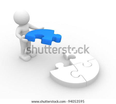 3d people - human character,  person with last piece of puzzle. ( jigsaw) 3d render illustration - stock photo