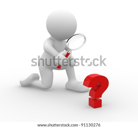 3d people - human character - person with magnifying glass question mark red search . 3d render illustration - stock photo