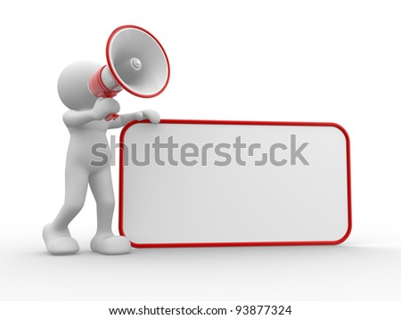 3d people - human character , person with megaphone and blank board. 3d render - stock photo