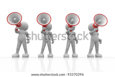 3d people - human character , person with megaphone . 3d render - stock photo