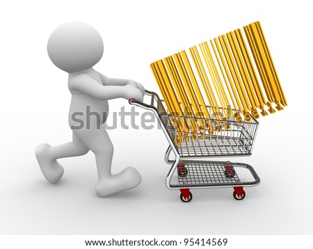 3d people - human character, person with shopping cart and barcode (bar code) 3d render - stock photo