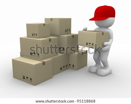 3d people - human character, person with stacking cardboard boxes. Postman. 3d render - stock photo