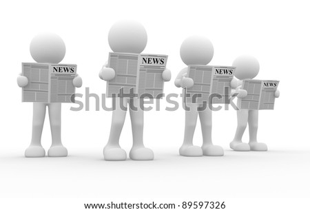 3d people - human character, reading newspaper . This is a 3d render illustration