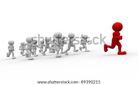 3d people - human character running- leadership. 3d render illustration - stock photo