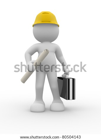 3d people- human character - suggesting an engineer. 3d render illustration - stock photo