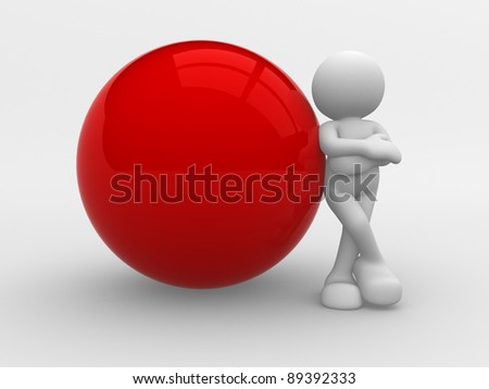 3d people -human character supported by a blank sphere. 3d render illustration - stock photo