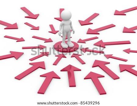 3d people- human character surrounded by directional signs - This is a 3d render illustration - stock photo