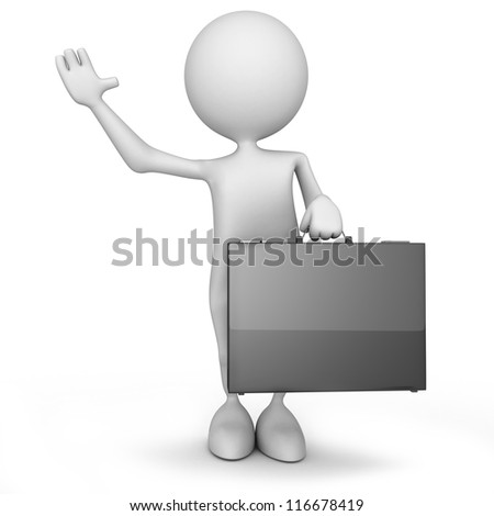 3d people - human character with a briefcase. 3d render illustration - stock photo