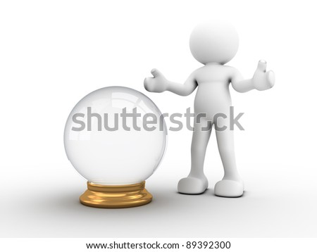 3d people - human character with a crystal ball. 3d render illustration - stock photo