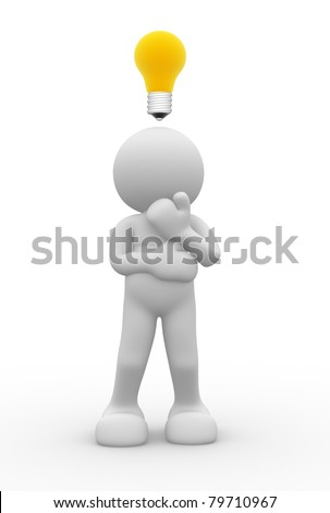 3d people- human character with a light bulb - 3d render illustration - stock photo