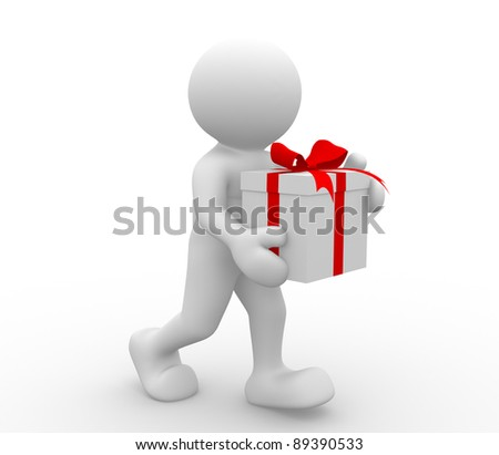 3d people - human character with box of gifts. 3d render illustration - stock photo