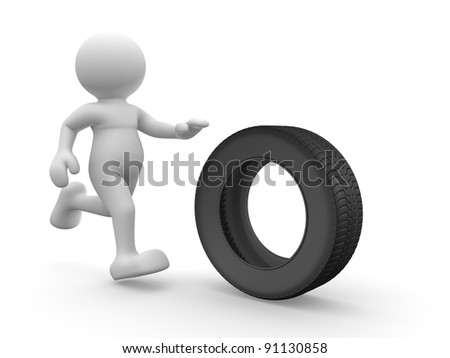 3d people - human character with car tire. 3d render illustration