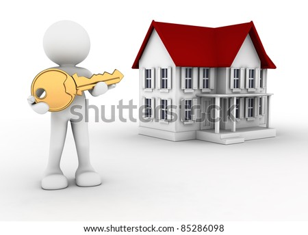 3d people - human character with key in hand and a house. 3d render illustration