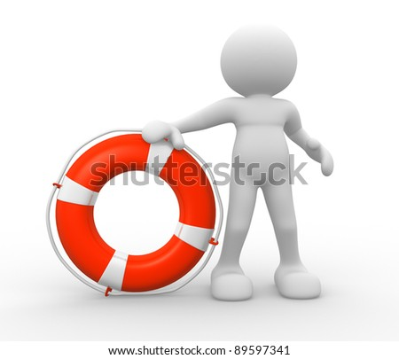 3d people - human character with lifebuoy. 3d render illustration - stock photo