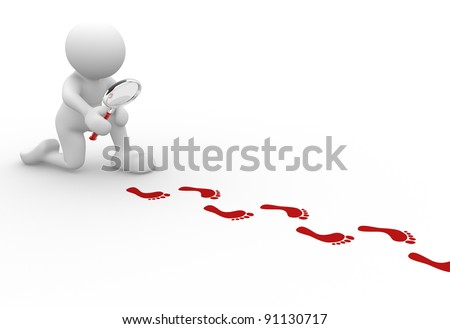 3d people - human character  with magnifier and footprints  .  3d render illustration - stock photo