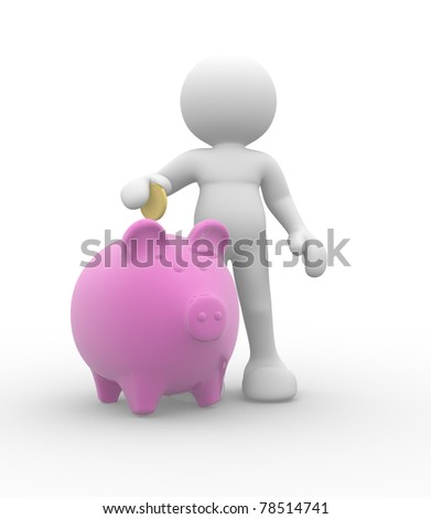 3d people-human character with piggy bank and golden coin - 3d render illustration - stock photo