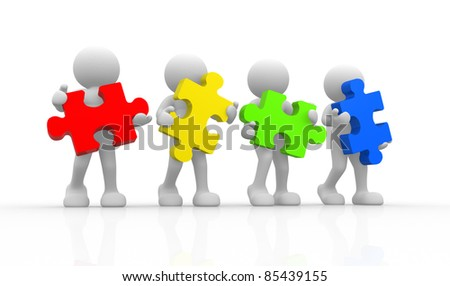3d people - human character with puzzle. 3d render illustration - stock photo