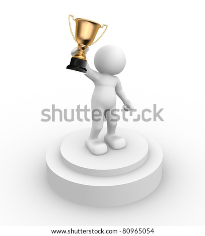 3d people- human character with the cup on the podium This is a 3d render illustration - stock photo