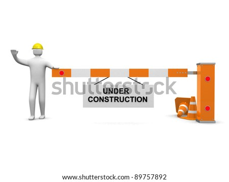 3d people icon and under construction. 3d render illustration - stock photo