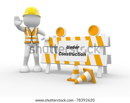 3d people icon and under construction. This is a 3d render illustration - stock photo