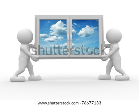 3d people icon carrying a window - This is a 3d render illustration - stock photo