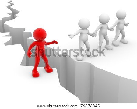 3d people icon end cracked earth - This is a 3d render illustration - stock photo