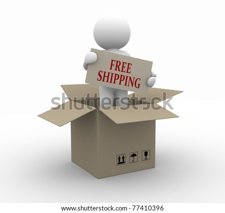 3d people icon free shipping in the package - This is a 3d render illustration - stock photo