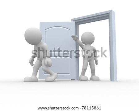 3d people icon  kicked out the door - This is a 3d render illustration - stock photo
