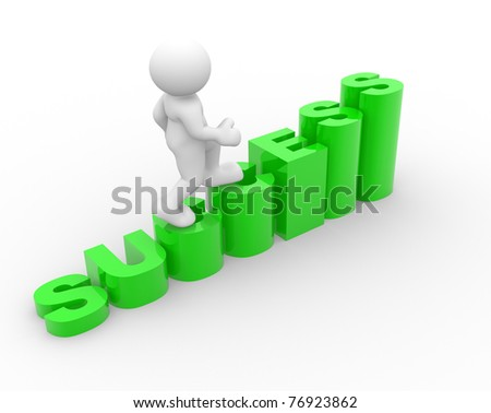 3d people icon on success stair- This is a 3d render illustration - stock photo