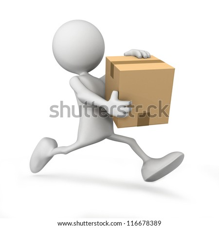 3d people icon running with a box in his hand - This is a 3d render illustration - stock photo