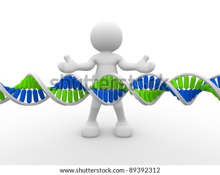 3d people icon with DNA structure. This is a 3d render illustration - stock photo
