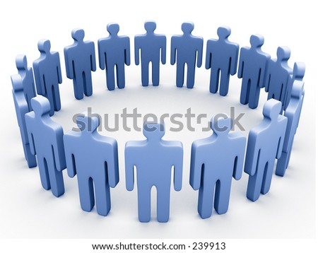 3d people in a circle. - stock photo