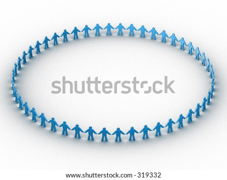 3d people in a huge circle - stock photo