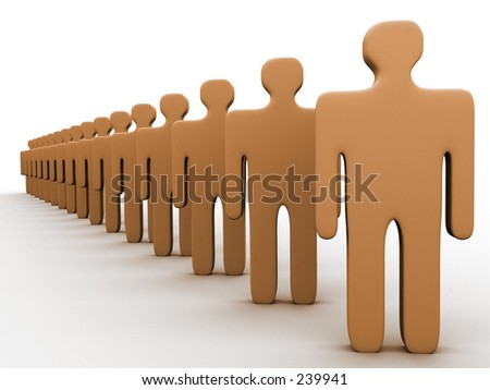 3d people in a row. - stock photo