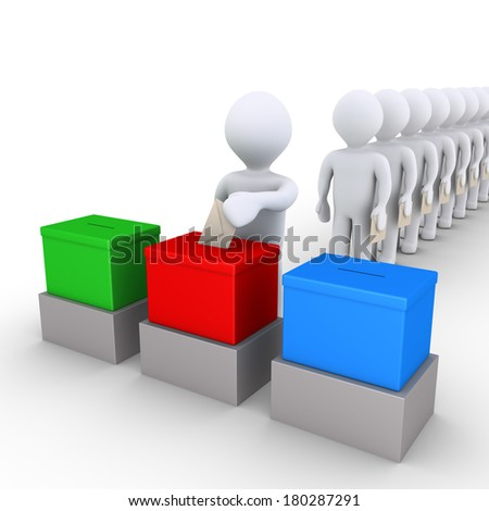 3d people in a row are choosing among three ballot boxes to vote - stock photo
