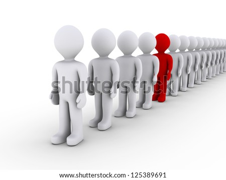 3d people in line and one is different in color - stock photo